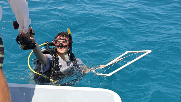 <p> 	U.K. Associates student uses a quadrat during the Coral Reef Ecology summer course.</p>