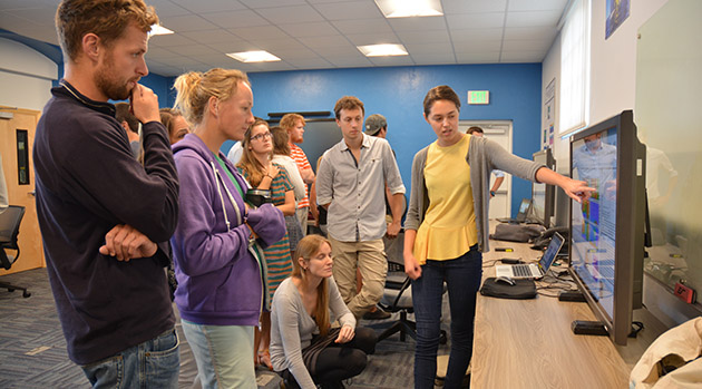 <p> 	REU interns had the opportunity to share their research progress and outcomes during a virtual poster session held in the new multimedia MAGIC room.</p>