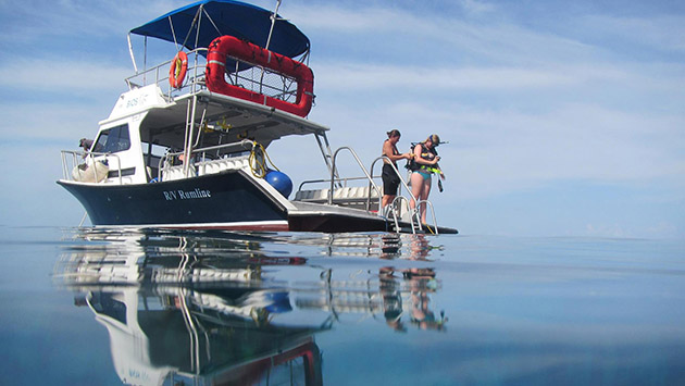 <p> A glassy, flat calm day for the Marine Science Interns diving on Hog Breaker. Photo by Kyla Smith.</p>