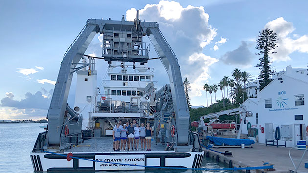 <p> 	REU interns return from a cruise on the research vessel <em>Atlantic Explorer</em>.</p>