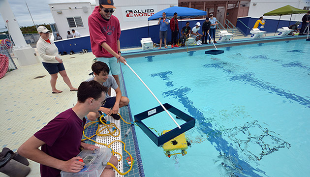 <p> 	A student-built underwater robot completing scientific tasks.</p>