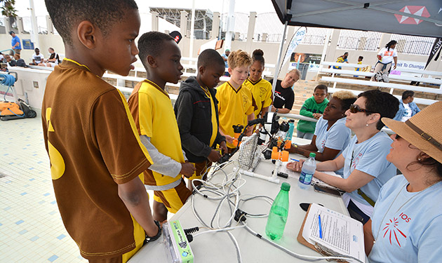 <p> Students are quizzed on the design of their ROV by a panel of judges.</p>