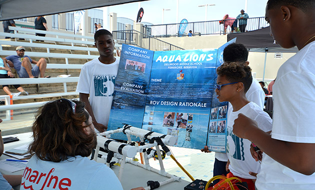 <p> 	Teams present the science behind their underwater robot.</p>
