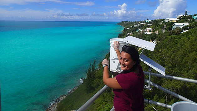<p> 	2014 REU intern, April Oliver, at the Tudor Hill MArine Atmospheric Observatory.</p>
