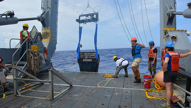 <p> 	Scientists and <em>Atlantic Explorer</em> crew deploy specialized zooplankton nets, called a MOCNESS. Students on the Marine Plankton Ecology course learn how the small swimming animals that are collected produce dissolved organic matter and influence microbial communities. Photo by Nick Mathews.</p>