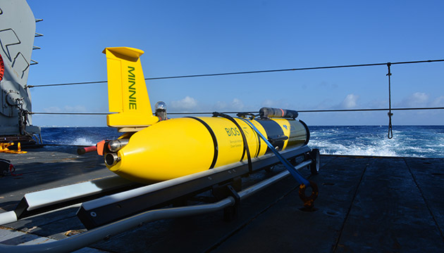 AUV glider on the stern of The Atlantic Explorer