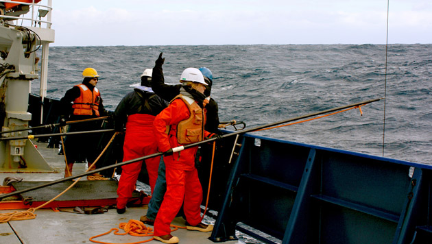 <p> Research Tech, Becky Garley, in the SOuthern Ocean.</p>