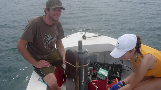 <p> 	REU interns collect water samples in Devil&#39;s Hole.</p>