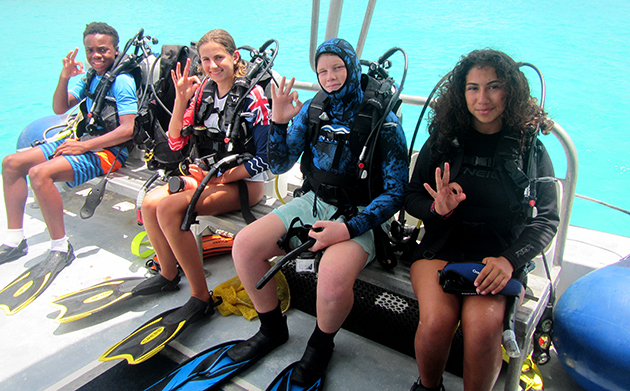 """<p> A highlight of the camp, students learn the basics of SCUBA diving and took their first breaths underwater in a """"Discover SCUBA Diving"""" experience.</p>"""