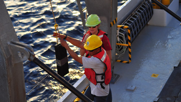 <p> 	Research technicians collect trace metal clean seawater samples using external spring Niskin bottles deployed on a Kevlar line.</p>