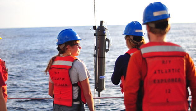 <p> 	Interns aboard BIOS's R/V <em>Atlantic Explorer</em>.</p>