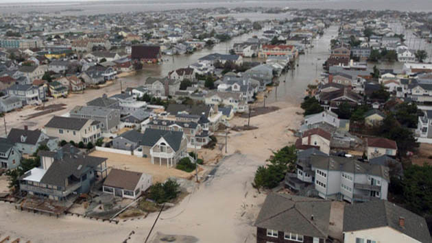 Hurricane Sandy storm surge on the coast of New Jersey.