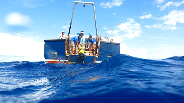 <p> 	REUs look on as researchers deploy BIOS's newest glider 5 miles offshore.</p>