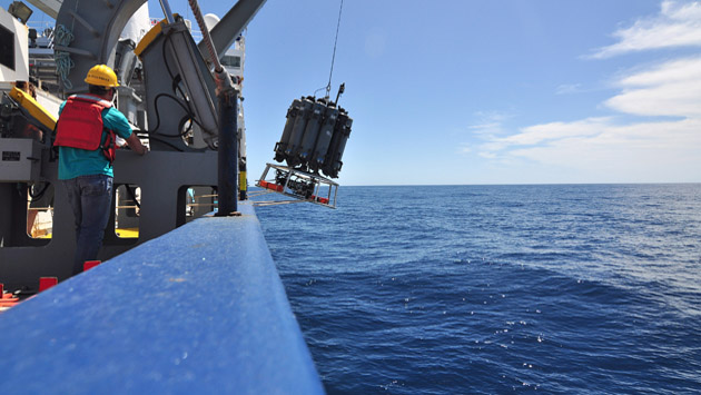 <p> CTD deployment from the R/V Roger Revelle in the Southern Ocean.</p>