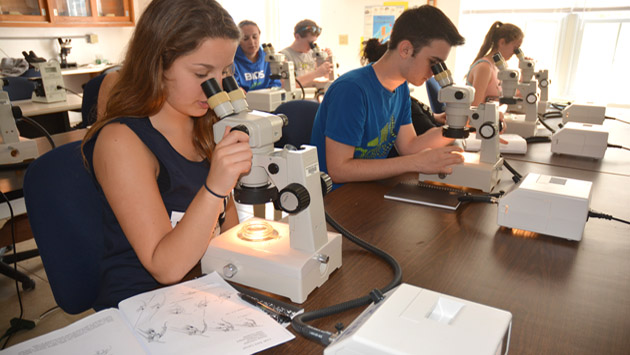 <p> 	Students from the Har-Bur Middle School in Connecticut look at recently collected plankton in the lab.</p>