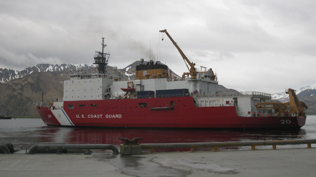 <p> 	USCGS Healy leaving port for ICESCAPE 2012 research cruise. Photo credit: Sue Tolley.</p>