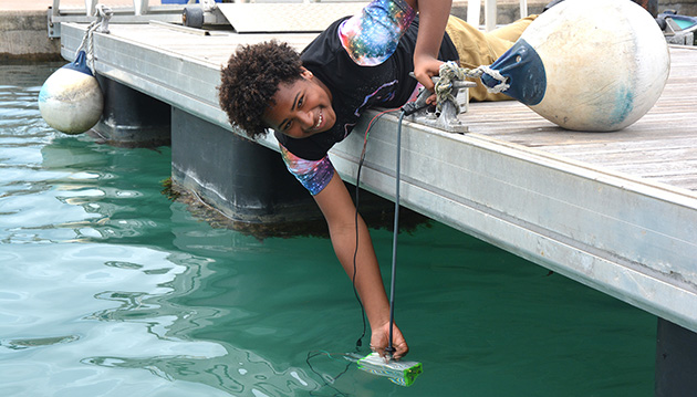 <p> 	Jacari Renfroe developed an instrument to help scientists assess bacterial production in seawater during his Bermuda Program internship.</p>