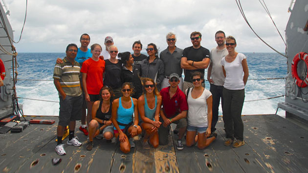 <p> 	Class photo from the 2012 Microbial Oceanography course, taken aboard the R/V Atlantic Explorer during the course&#39;s two-day research cruise.</p>