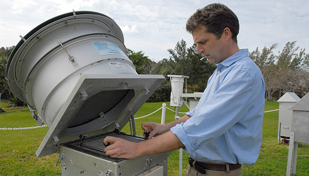 <p> 	Andrew Peters monitors the island's air quality as part of the Environmental Quality Program's routine activities.</p>