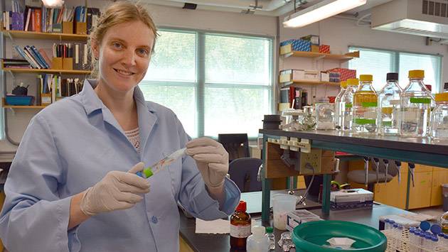 <p> 	Dr. Amy Maas in the lab.</p>
